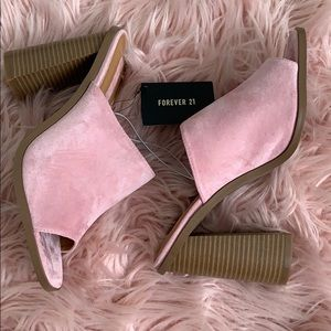 Pink peep toe mules from Forever 21